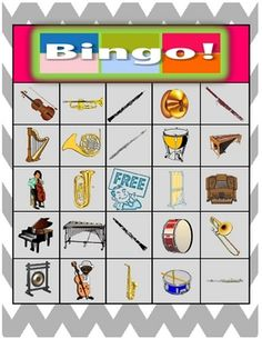 Orchestra Instruments Bingo-free from Teachers Pay Teachers...only comes with 9 unique boards, so probably better for small groups rather than whole class.