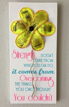 """Strength Doesn't Come from What you can do, Baseball/Softball Sign Decor, Inspirational Quote, Baseball Softball Flower Yellow Softball. Decoration for the Baseball or Softball Fan! Beautifully Crafted in Solid Wood, White Board and a Flower made using real Softballs! It features the quote """"Strength doesn't come fro what you can do. It comes from Overcoming the things that you thought you couldn't"""". The """"Flower"""" is created using real yellow softballs and twine as the flower stem. Measures..."""