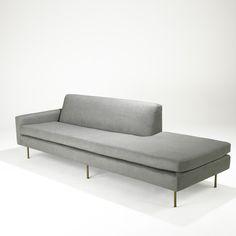 HARVEY PROBBER; HARVEY PROBBER INC.; Single-arm sofa/chaise, USA, 1950s; Wool, brass; Unmarked; 29 1/2