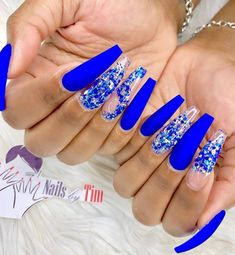 50 Fabulous Sparkly Giltter Acrylic Blue Nails Design On Coffin And Stiletto Nails To Try Now - Page 4 of 54 - Latest Fashion Trends For Woman Navy Blue Nails, Light Blue Nails, Blue Coffin Nails, Blue Acrylic Nails, Summer Acrylic Nails, Blue Stiletto Nails, Cute Acrylic Nail Designs, Blue Nail Designs, Beautiful Nail Designs