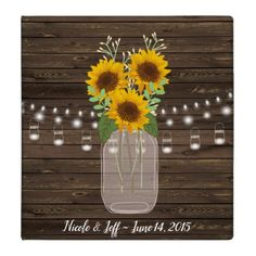 Rustic Sunflower Country Mason Jar Wedding 3 Ring Binder - wood wedding style nature diy customize personalize marriage