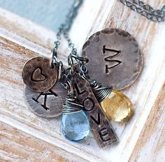A personal favorite from my Etsy shop https://www.etsy.com/listing/252147432/mothers-necklace-personalized-necklace
