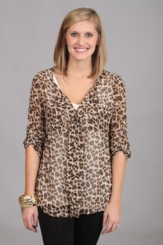 ON THE PROWL TOP...Animal prints are all the rage this season! In this top, you can be trendy and comfy. The classic fit of this top will never go out of style! Pair this with skinny jeans, leggings, or even a black skirt!! SO fun.