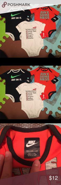 NWT Nike & Puma onesies 6-9 months NWT Nike & Puma onesies 6-9 months. Smoke free and pet free home. NEW! Nike One Pieces Bodysuits