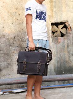 """Image of Men's Genuine Leather Briefcase Shoulder Messenger Bag 15"""" Laptop Bag A02"""