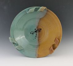 Decorative Dragonfly bowl with handles glazed by NewDayPottery,