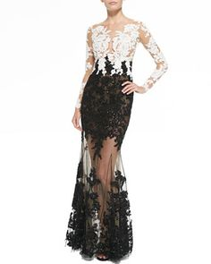 Lace-Embroidered+Sheer+Gown+by+Zuhair+Murad+at+Neiman+Marcus.