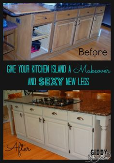 Give your kitchen island a makeover and sexy new legs!   GiddyUpcycled.com  #anniesloan   #lowes