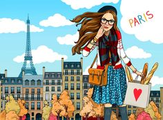 Paris illustration by Anna Lazareva. Blue skies and shopping bags of bread = Paris, for some.