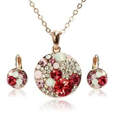 Arinna Posh Showy Red Round Earrings Necklace Set Rose Gold Gp Swarovski Elements Crystal Arinna. $31.98