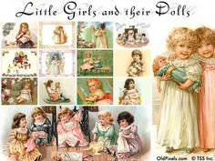 12 Vintage Clip Art Illustrations of Little Girls & Dolls - And big girls too…. Mother's Day Clip Art, Vintage Postcards, Vintage Clip, Vintage Stationary, Vintage Images, E Greetings, Personalized Greeting Cards, Girl Dolls, Baby Dolls