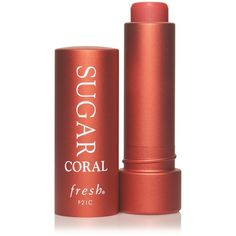 Fresh Sugar Coral Tinted Lip Treatment Sunscreen SPF 15 (£20) ❤ liked on Polyvore featuring beauty products and makeup