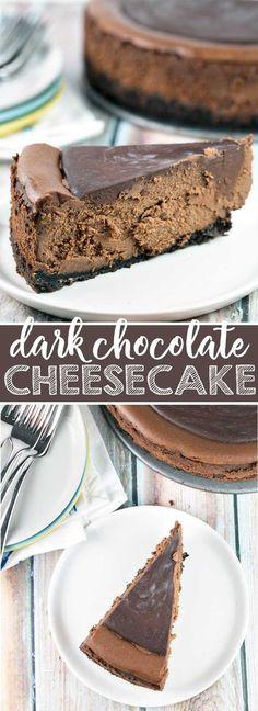 Rich, decadent dark chocolate cheesecake covered i…