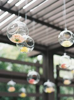 Hanging flower filled votives: http://www.stylemepretty.com/2016/04/07/intimate-outdoor-wedding-filled-with-cultural-meaning/ | Photography: Judy Pak - http://www.judypak.com/