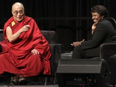 The Dalai Lama answers questions from moderator Gwen Ifill in 2010. #Graduation #Classof2014