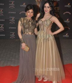 Sisters Khushali and Tulsi Kumar at the Stardust Awards 2015. #Bollywood #StardustAwards2015 #Fashion #Style #Beauty #Hot