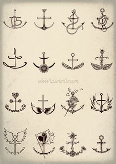 Anchor Tattoos - Set ONE by SabineSusanne.deviantart.com on @deviantART