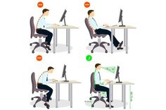 Poor posture contributes to a variety of health issues, especially neck and back pain. Learn more about proper posture and how to prevent back pain. Kitchen Layout Plans, Postural, Pharmacy Design, Sitting Posture, Home Study, Tv Wall Design, House Design, Office Environment, Ergonomic Chair