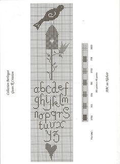 cross stitch alphabet bird and bird house