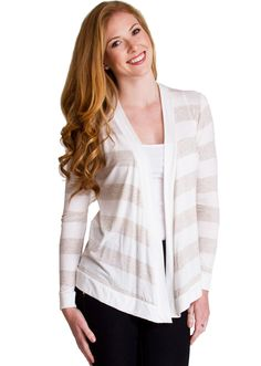 Open Front Striped Cardigan TC1060BGE, clothing, clothes, womens clothing, jeans, tops, womens dress