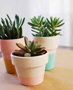 Color-block terracotta pots. Poppytalk: Garden Gifts: DIY's for Mom