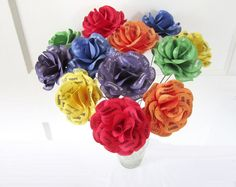 Rainbow Birthday Decoration or Gift 12 Solid by PAPERFLORISTS #rainbow #birthdaydecoration #paperroses