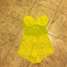 ✨Victoria's Secret lingerie / bodysuit✨ Beautiful lacy one piece. Snaps in the bottom area. 36C. See through, mostly. I love this yellow!! Victoria's Secret Intimates & Sleepwear Bras