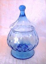Candy Bowl Dish Tall Tudor Glass Knob Cover Blue Vintage
