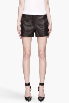 Hot legs! T By Alexander Wang Black Lightweight Leather Shorts