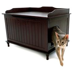 Conceal the unsightliness of your cat's litter box with this stylish and functional table. Litter box not included. Kitty Box Has Attractive Espresso Finish. Litter Box Covers, Litter Box Enclosure, Pet Furniture, Modern Furniture, Cat Supplies, Find Pets, Pet Beds, Animal Design, Cool Cats