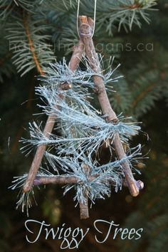 Twig tree Christmas ornaments for toddlers and preschoolers to make - happy hooligans