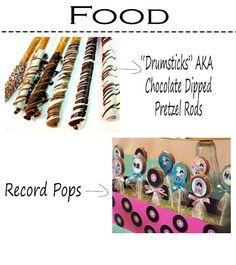 record pops and pretzel drum sticks