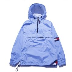 Tommy Jeans Parka Windbreaker Medium Perennial Merchants ($58) ❤ liked on Polyvore featuring outerwear, jackets, tops, coats & jackets, windcheater jacket, wind-breaker jacket, blue parka, wind jacket and zip front jacket