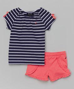 Love this Navy Stripe Tee & Coral Shorts - Infant, Toddler & Girls on #zulily! #zulilyfinds