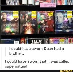 I could have sworn Dean had a brother. I could have sworn that it was called supernatural - iFunny :) Castiel, Crowley Supernatural, Supernatural Quotes, Spn Memes, Supernatural Tattoo, Sherlock Quotes, Sherlock John, Sherlock Holmes, Fandoms Unite