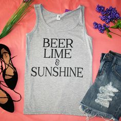 """""""Beer, Lime, & Sunshine"""" Grey Graphic Tank Top –  