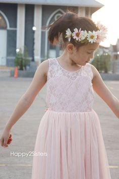 dc4bfb0d326 Blush pink flower girl dress Lace and tulle flower girl dres Flower girl  dress for wedding
