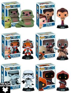 Star Wars Pop! Series 3 Vinyl Figures by Funko - Jabba the Hut, Slave Leia, X-Wing Pilot Luke Skywalker, Tusken Raider, Clone Trooper & Jawa
