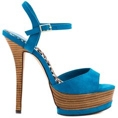 Accelerate your look with the Ash Ley by Luichiny. An blue micro suede upper covers the ankle strap and vamp for a chic look. A stacked 5 3/4 inch heel and 1 1/2 inch platform complete this cute peep toe sandal.
