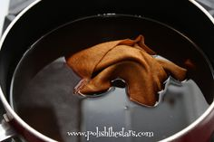 Polish The Stars: Coffee Fabric Dye. BOIL the water for the instant coffee, wring out well  and bake 350 for 5 min flipping every minute ( suppose to help get rid of the wrinkle lines and create more even color)