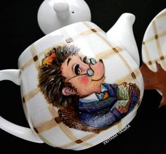 Hand Painted Porcelain Teapot w/ Hedgehog Reading a Book - Animal Teapot Tea Pot