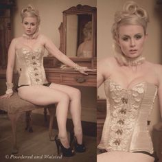2407c3afac1 Gorgeous Constance Peach in the silk and silk organza Armoured Angel  corset