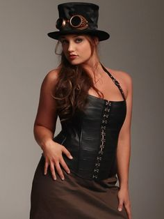 Simone Rocker corset, and steampunk tophat with goggles.