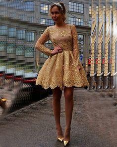 139€ Golden Cocktailkleider Kurz Lang Ärmel Mit Perlen Spitze Abendkleider Mini Abendmoden Kleider
