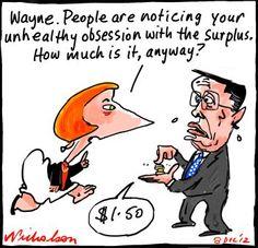 Wayne swan fetish with budget surplus cartoon (8 December 2012).