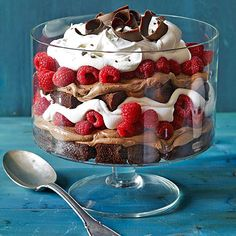 Chocolate raspberry trifle----I would replace cake with brownies (preferably homemade) and a vanilla cream yum