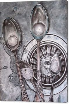 Spoons Canvas Print featuring the painting Spoons In Sink Painting by Lillian Bell Sink Drawing, Object Drawing, Realistic Paintings, Realistic Drawings, Personal Project Ideas, Art Alevel, Observational Drawing, Dark Drawings, Still Life Drawing
