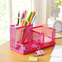Desktop Organizer with 3 Components Pen Holder/Card Case Organizer/Storage Box,Hot Pink