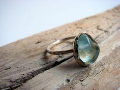 Raw Aquamarine Gemstone Sterling Silver Ring