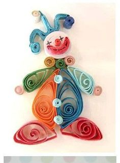 Clown (made with Filigree technique, from - Quilling Paper Crafts Neli Quilling, Paper Quilling Cards, Paper Quilling Patterns, Quilled Paper Art, Quilling Paper Craft, Paper Beads, Paper Crafts, Quilling Ideas, Quilling Birthday Cards